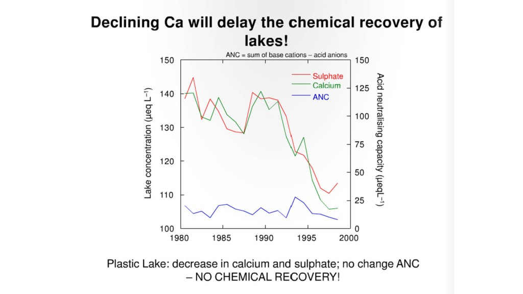 Declining calcium slows the recovery of acidic lakes.