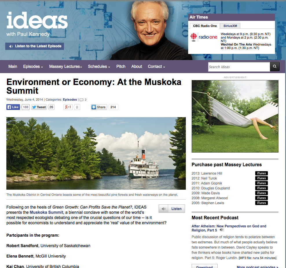 CBC Ideas: Muskoka Summit on the Environment